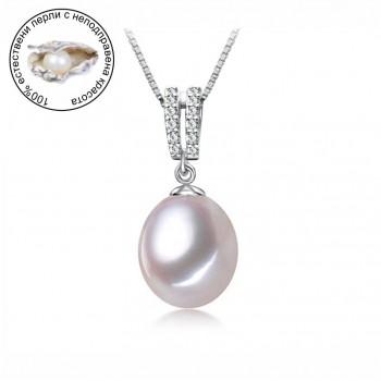 Колие с бяла естественa перлa