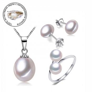 """Комплект """"Перла"""" с естествени перли"""