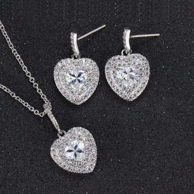 Комплект сърце с кристал цирконий