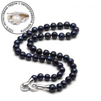Гердан с черни естествени перли