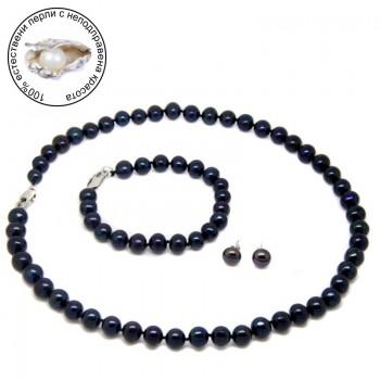 Комплект с черни естествени перли