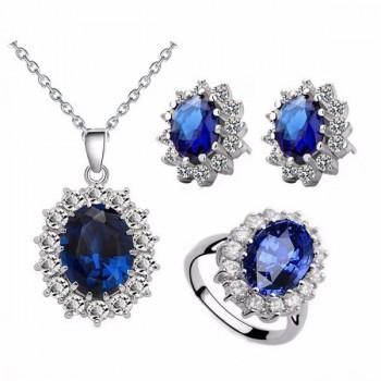 Комплект с тъмно син кристал