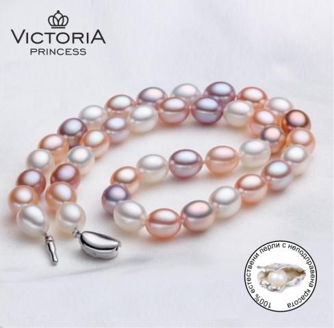 Гердан с естествени цветни перли